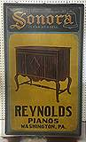 Painted tin  sign for Reynolds Pianos